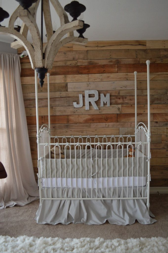Project Nursery - Wooden Pallet Wall in this Cowboy Nursery