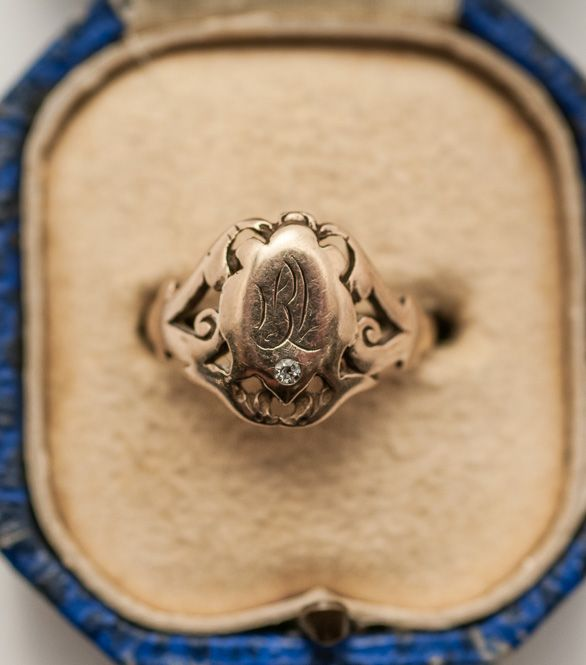 19th C. Victorian 14K Gold Signet Ring w/ Diamond