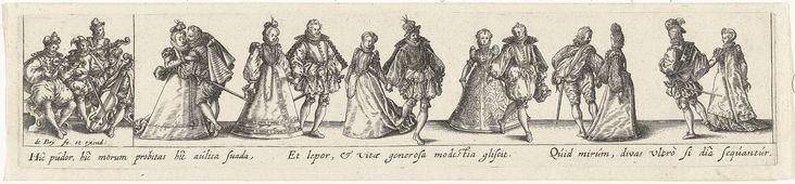 Johann Theodor de Bry | Dansende paren op een bal, Johann Theodor de Bry, 1588 - 1623 | Een rij van zes dansende elegante paren op een bal. Geheel links een groepje van vier muzikanten die vedels, een luit en de viola da gamba bespelen. Onder de voorstelling een Latijns vers. De prent vormt een pendant met een voorstelling van dansende boeren.