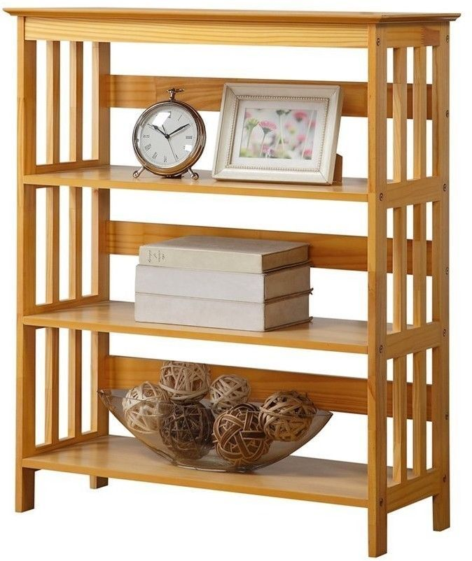 3 Tier Mission Style Bookshelves Bookcase Wood Open Back And Sides Oak Finish Lhh Wooden Bookcase Decor Bookcase