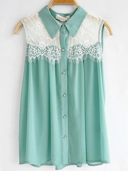 LOVE: Mint Green, Lace Tops, Dreams Closet, Color, Tiffany Blue, White Lace, Floral Lace, Chiffon Shirts, Lace Panels