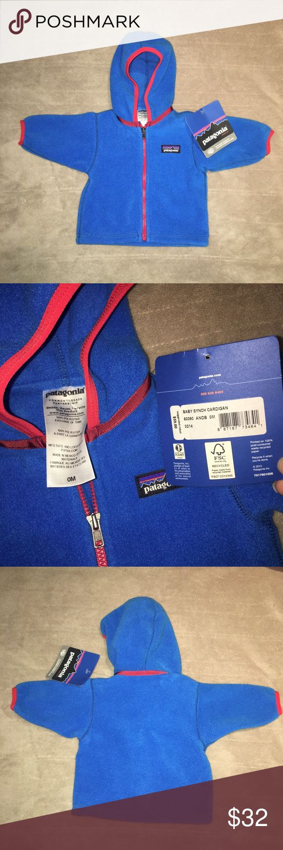 Patagonia Baby Fleece 0-3mo New with tags. Patagonia hoodie baby cardigan fleece in an infant size 0-3 Months.   Product Details: Everyday Wear For Your Baby, No Matter What The Season. Whether you're layering it under his snowsuit for extra warmth on a snowy afternoon stroll, or just zipping him in to it first thing in the morning on a cool spring day, the Patagonia Infant Boys' Fleece Cardigan cuddles your baby in soft warmth. Soft double-faced fleece is durable and warm Patagonia Jackets…