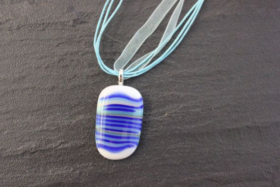 Blue Striped Glass Fused Pendant White Quirky by GlassJewelleryByJ