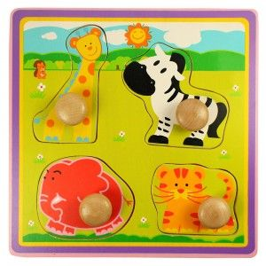 This lovely animal shapes tray is a perfect first puzzle for curious youngsters With large chucky pegs to make taking the jigsaw pieces in and out easy for small fingers.