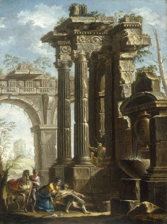 Giovanni Paolo Panini - Capriccio of Classical Ruins with the Death of St Francis Xavier.