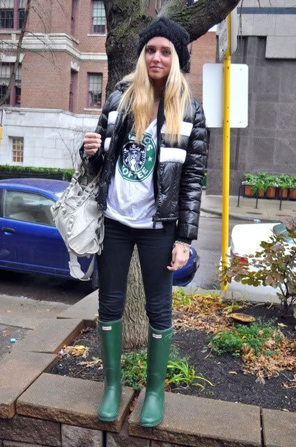 HUNTER GREEN RAIN BOOTS/ BLACK CHEAP/ MONDAY JEANS/ STARBUCKS TSHIRT BY BRANDY/ MONCLER DOWN JACKET/ STEFANEL BLACK SWEATER/ TIFFANY BEAD NECKLACE/ H&M HAT/ BALENCIAGA GREY PARTIME