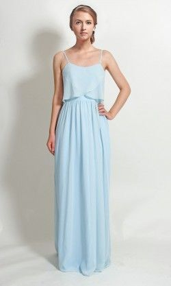 ce2d1ddc7246 Long Chiffon Flutter Neckline Bridesmaid Dress with Spaghetti Straps TBQP344