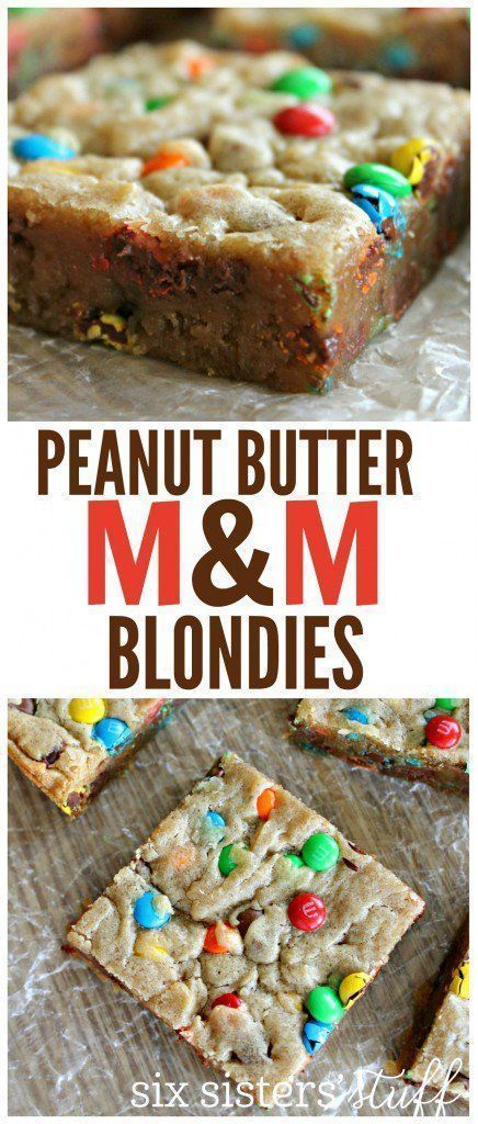 Peanut Butter M&M Blondies recipe from SixSistersStuff.com | Easy Summer Dessert Recipes | Potluck Food | Snacks for a Crowd