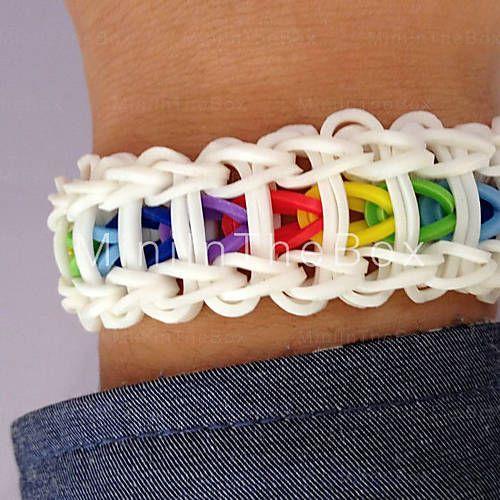[EUR € 7.35]  - kit telar arco iris brazalete de bricolaje (600 piezas, con s-clips o c-clips, 1 especificación, 1 aguja de crochet) (buy 1 ...