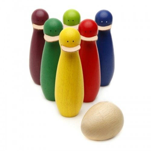 Hours of hilarious fun with a wobbly wooden egg and six wooden duck skittles.