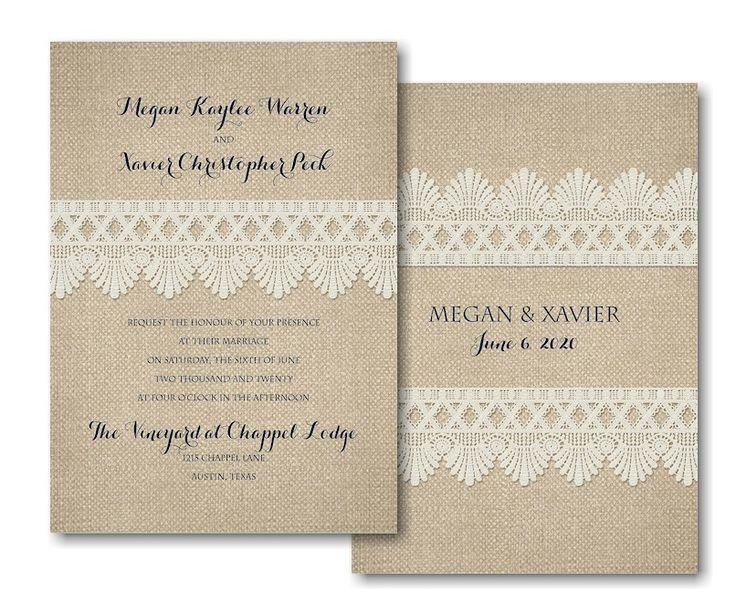 Crochet and Burlap Wedding Invitation