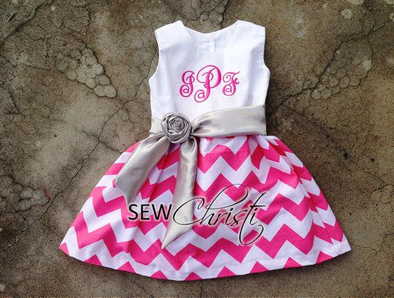 Chevron dresses are so adorable. This monogrammed pink and white chevron dress is perfect for your little girl. It makes a great birthday party dress,