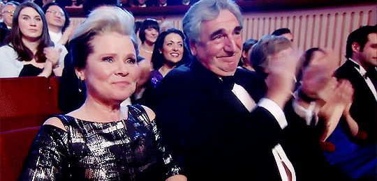 "Jim Carter and Imelda Staunton """"Lara Pulver's acceptance speech, receiving the Olivier Award for Best Actress in a Supporting Role in a Musical. Imelda Staunton won Best Actress. (2016) "" "" .."