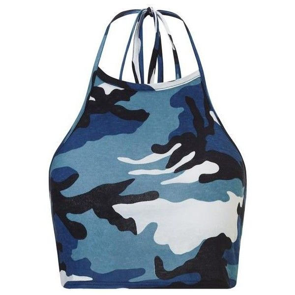 Blue Camouflage Halter Crop ❤ liked on Polyvore featuring tops, halter-neck tops, camo top, summer crop tops, summer halter tops and blue top