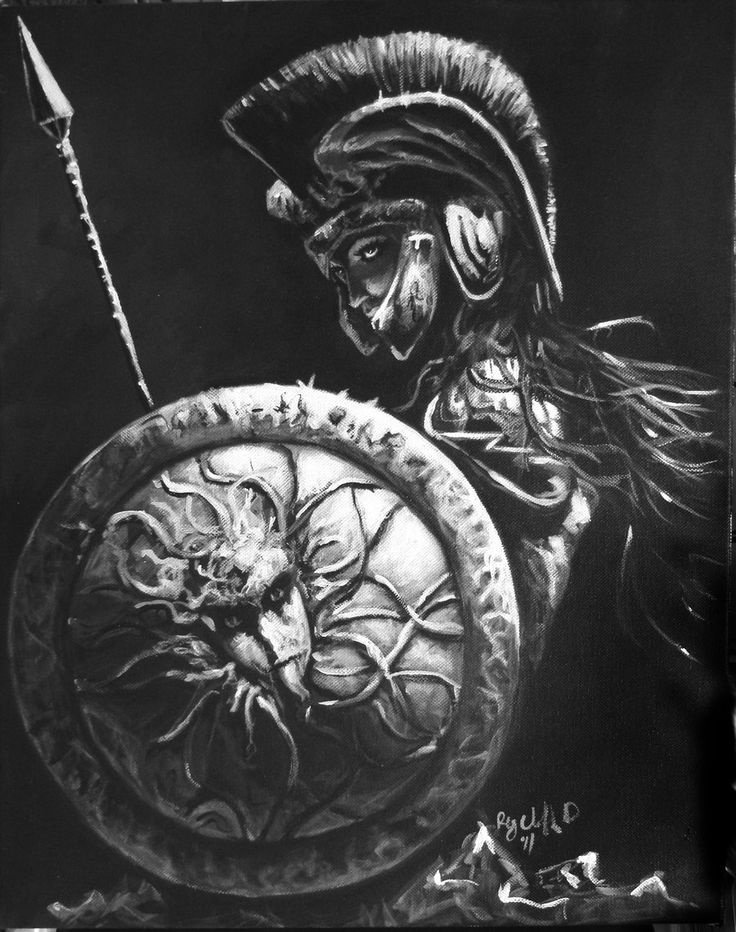 Athena Goddess by cliford417.deviantart.com.  A very nice image with the helmet down, a cunning look, a dark aspect, and Medusa's head well-rendered on the shield. A look at the dangerous side of the Goddess of War.