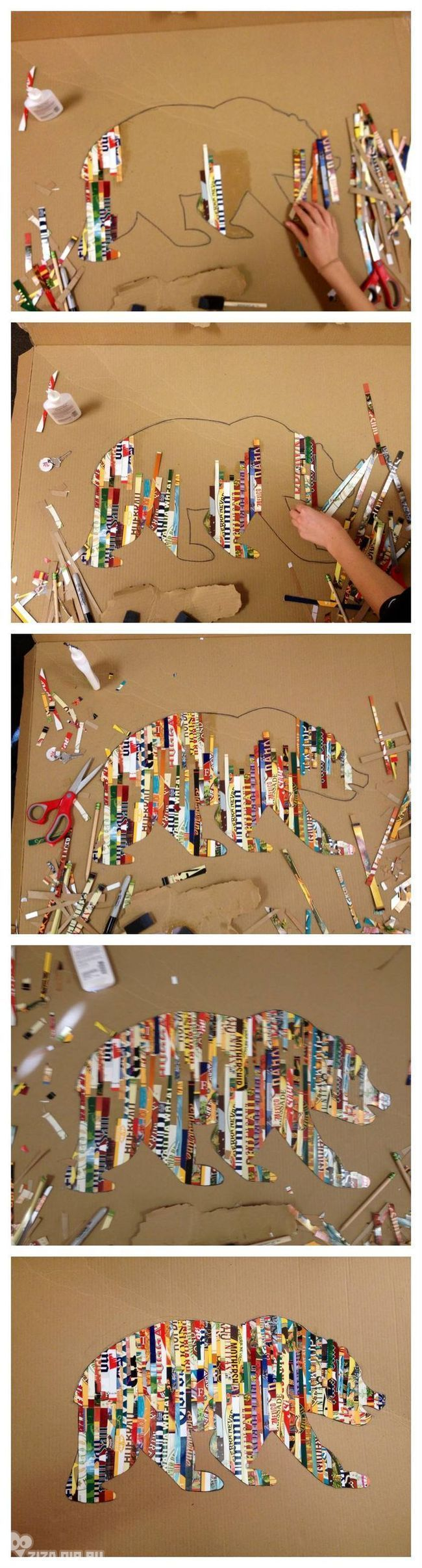 Pick a silhouette. Cut magazine strips. Use Mod Podge as the glue and sealer.: