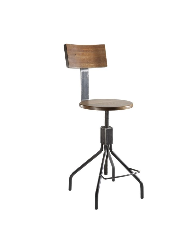 Elegant Adjustable Industrial Stool with Back