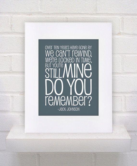 Jack Johnson Lyrics  Do You Remember  11x14  poster by KeepItFancy, $12.00