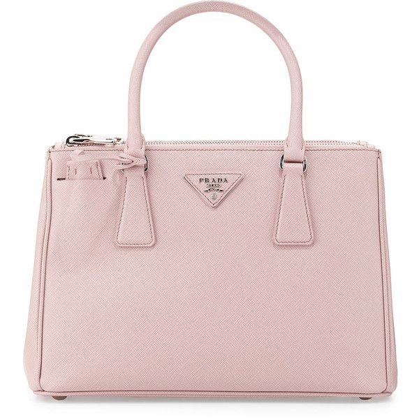 Prada Saffiano Lux Double-Zip Tote Bag featuring polyvore, fashion, bags,  handbags, tote bags, purses, light pink, prada tote bag, … 85ba45e98c