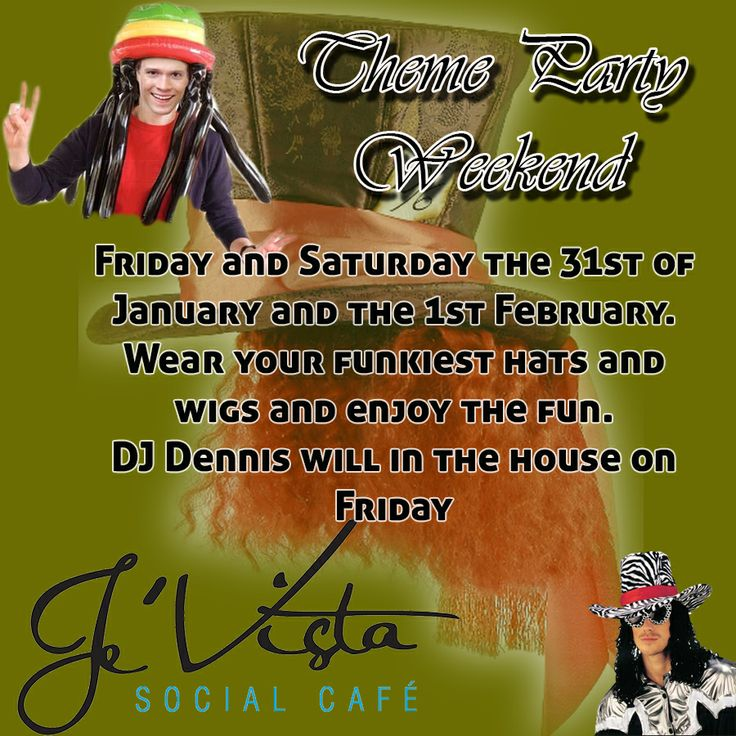 Join Je'Vista Social Café Jeffrey's Bay this weekend for another one of our fabulous theme parties. Wear your funkiest hat and/ or Wig this Friday and Saturday night. We will also be revealing our plans for Valentines Evening so be sure to watch this space. #themeparty #social #fun