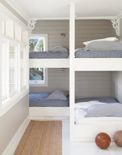 At a cabin or beach cottage.  (But only if there was a maid to make the beds, cuz I bet they're a pain to do.)