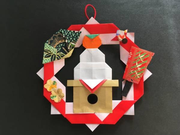 壁面飾り お正月 リース 折り紙 ハンドメイド_画像1