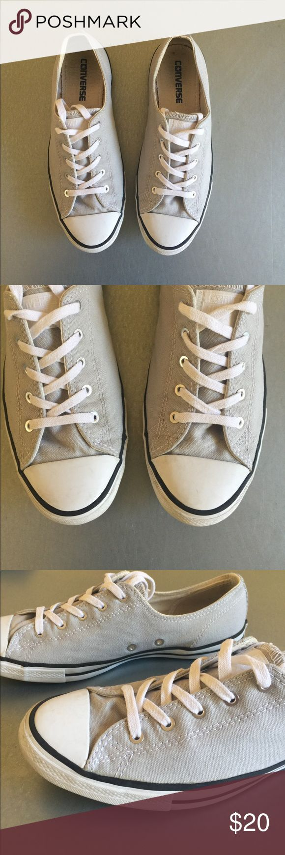 Women's converse slims size 7.5 light grey Women's converse slim style size 7.5 in light grey (oyster). Worn a handful of times but they fell out of my rotation. No box. Converse Shoes Sneakers