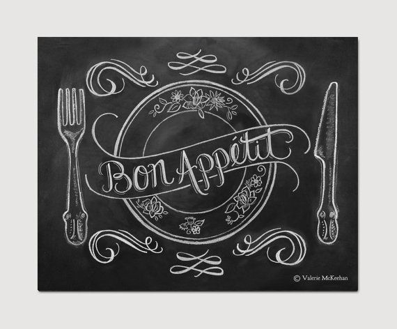Chalkboard Art - French Country Kitchen - Kitchen Illustration - Bon Appetit Kitchen Art -11x14 Print - Hand Lettering on Etsy, $29.00