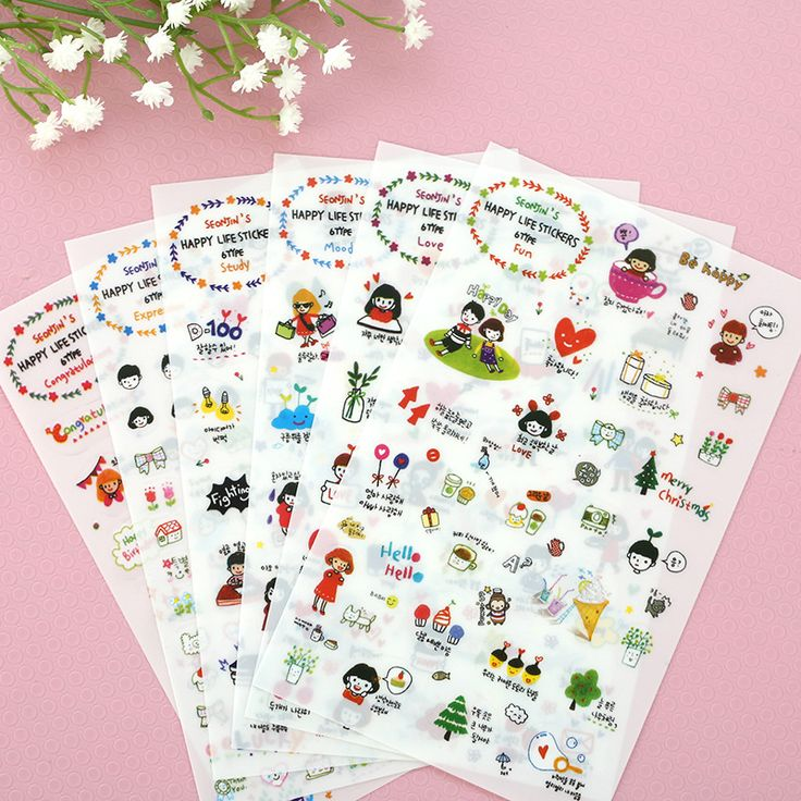 6 Pcs/Set Crayon Factory Direct Wholesale Korean Stationery Cute Girl Diary Pet Stickers Decorative Stickers