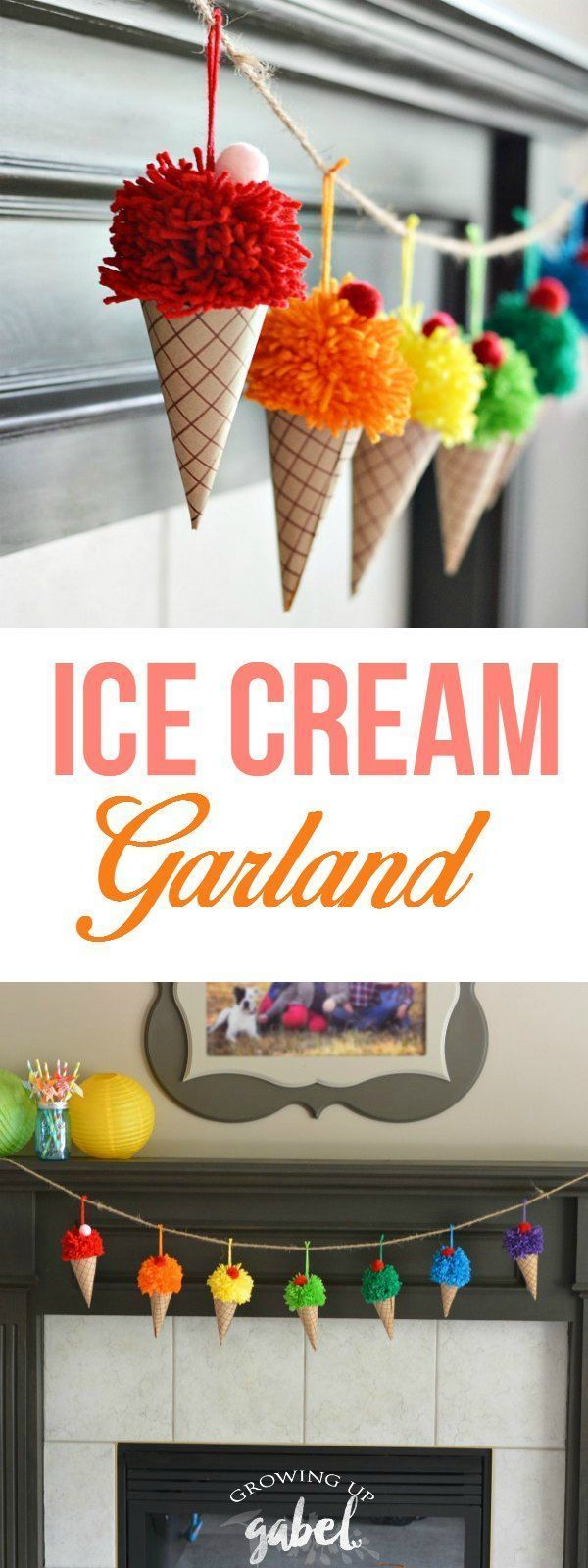 Make a bright and colorful ice cream cone garland out of yarn and paper! Perfect for a birthday or summer party - or just to brighten someone's day!