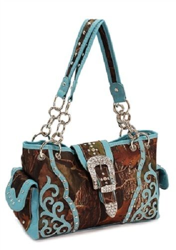 Cowgirl Bling Ranch, LLC - Rhinestone Buckle Camo Scroll Purse, $39.99 (http://www.cowgirlblingranch.com/rhinestone-buckle-camo-scroll-purse/)