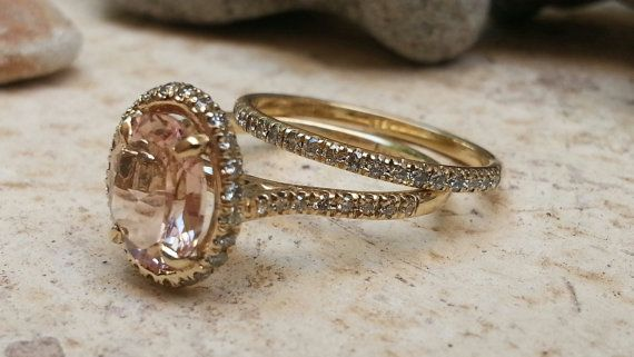 Halo ring Yellow gold 14k Diamond Morgniit by SeaofLoveee on Etsy