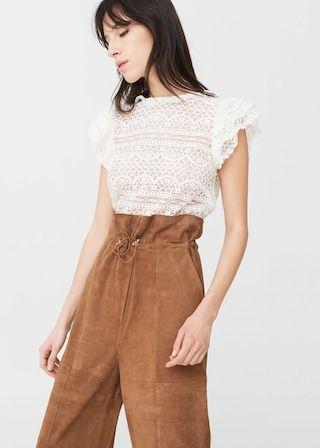 Blond-lace blouse -  Women | MANGO USA