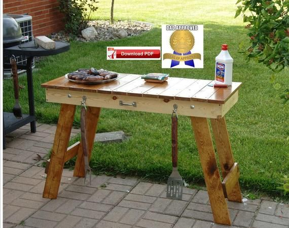 Outdoor Table Plan Patio Table Plan Camping Table Plan Craft Etsy In 2020 Wood Grill Table Bbq Table Outdoor Table Plans