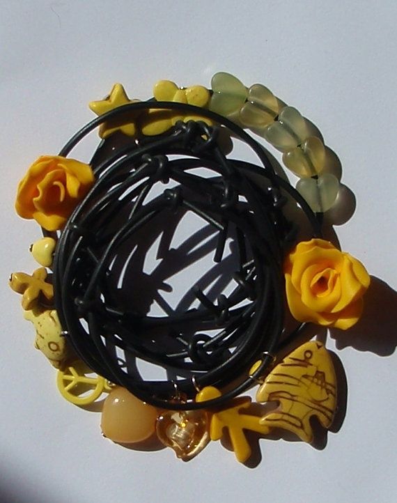 Black rubber bracelets with yellow charms by insou on etsy 17 10