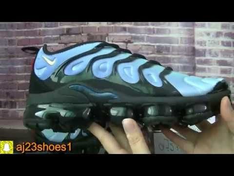 Nike Air Vapormax Plus Blue with yellow logo HD review from aj23shoes net 8b7b59ad1