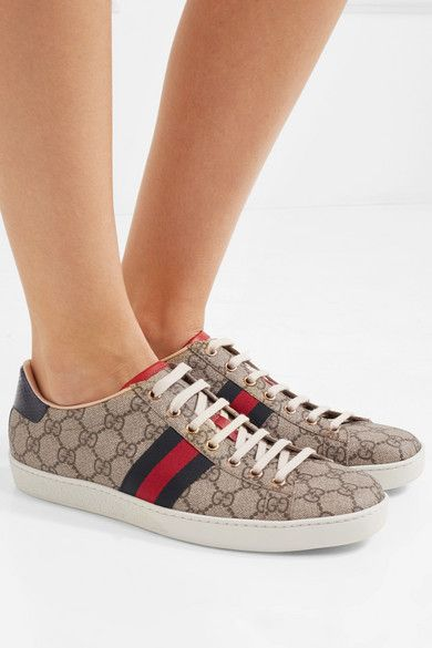 87376a6d8cc Gucci - Ace Metallic Watersnake-trimmed Printed Coated-canvas Sneakers -  Gray