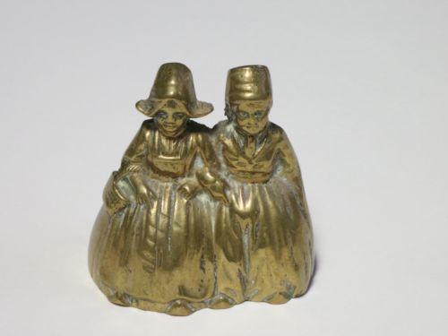 Vintage Solid Brass Dutch Flemish Children Figurine Countertop Bell