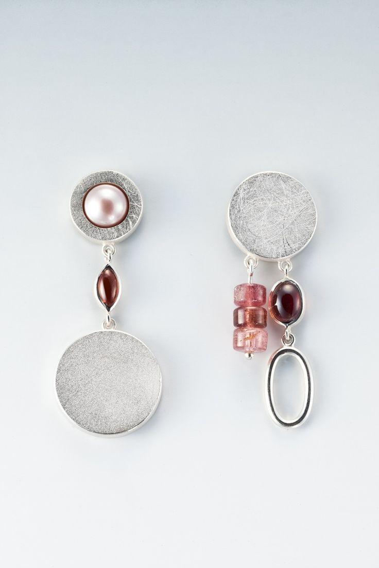 Custom Made Silver, Garnet And Tourmaline Earrings By Janis Kerman Design   Custommade