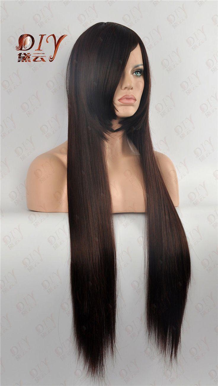 Кк 003187 Темно-Коричневый 35 Прямой Длинный Парик Vogue Парики Тепло Косплей Партия Полный Волос 1B-33