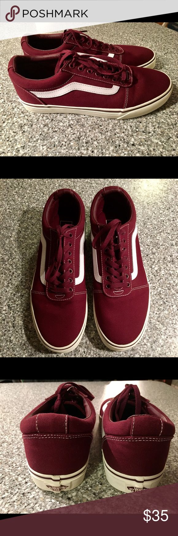 Brand new pair of Old Skool Vans Brand new pair of Old Skool Vans (NWOT). Size men's 9.5. Color is burgundy/maroon. I bought these for my son and he outgrew them before he even had a chance to wear them! They've never seen pavement.   Classic Vans skate shoe with iconic side stripe. Durable canvas upper with padded tongue and lining. Vans Shoes Athletic Shoes