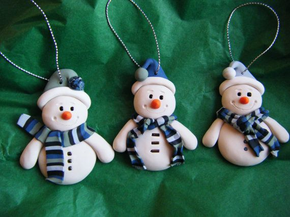 Made to Order Handmade Sculpey Clay Snowmen by BlueMoonDawn, $12.50