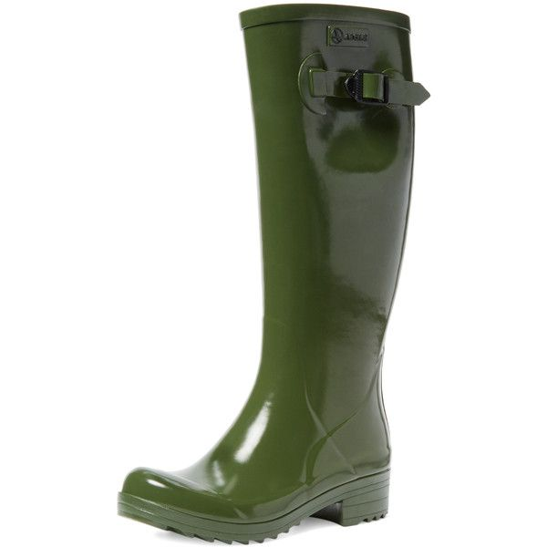 Aigle Women's Brillantine Rain Boot - Green - Size 36 ($99) ❤ liked on Polyvore featuring shoes, boots, green, green knee high boots, green rubber boots, aigle boots, faux-fur boots and green boots