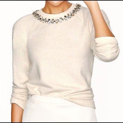 J-Crew-Retail-Necklace-Sweatshirt-Heather-Natural-Ivory-Jeweled-Sweater-L-145