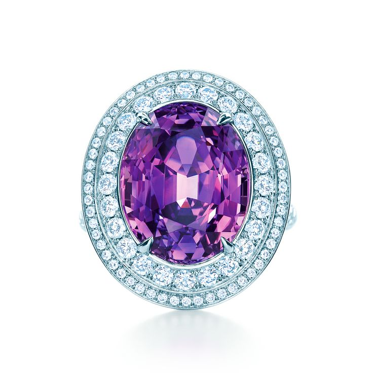 Ring in platinum with an unenhanced, 11.80-carat oval-shaped purple sapphire and diamonds. #TiffanyPinterest #TiffanyBlueBook