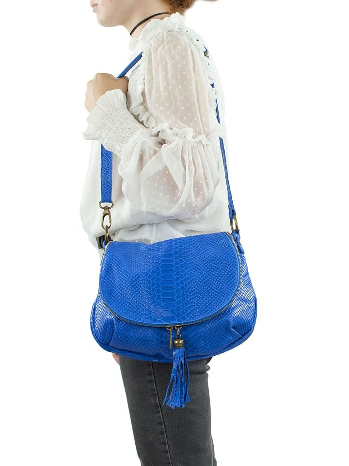 Skórzana torebka w kolorze niebieskim - 29 x 24 x 8 cm - Spécial maroquinerie - torebki - Limango