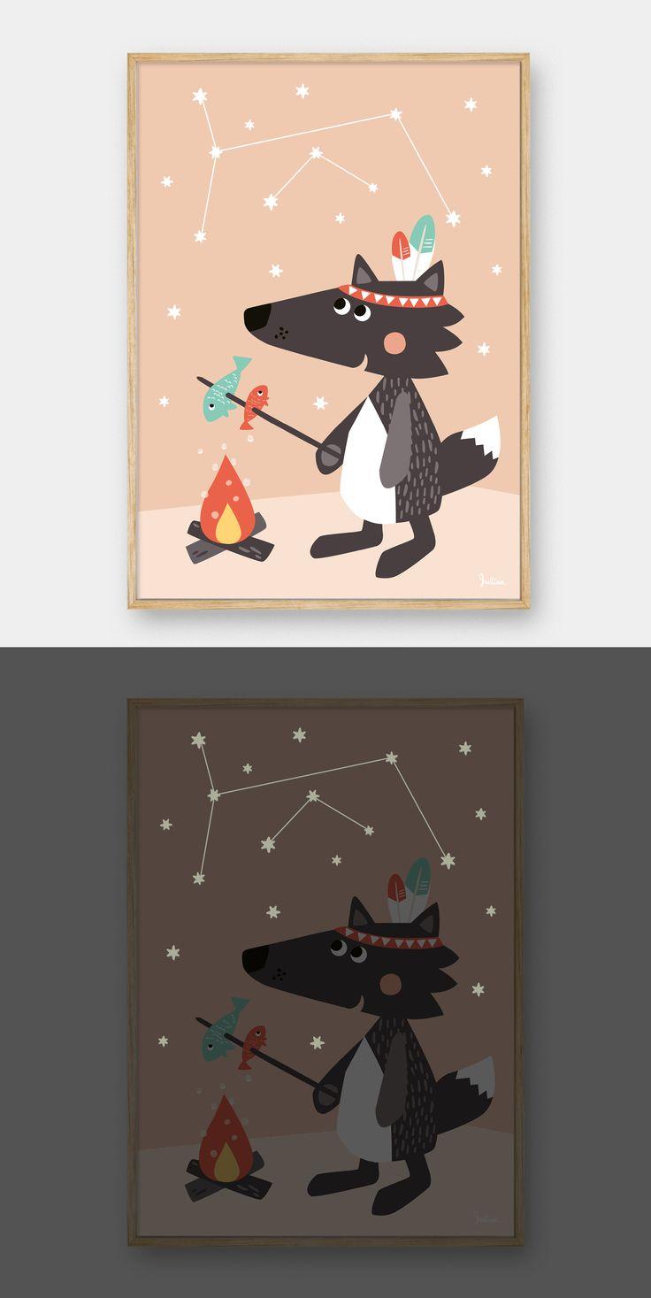 """nachtleucht Poster Kleiner Wolf / glow in the dark poster """"little wolf"""" by Julica"""