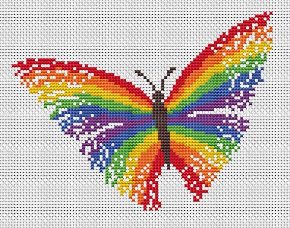 Striking and bright cross stitch pattern of a magical rainbow butterfly. • Stitch count: 89 wide x 68 high • Approximate size on 14 count