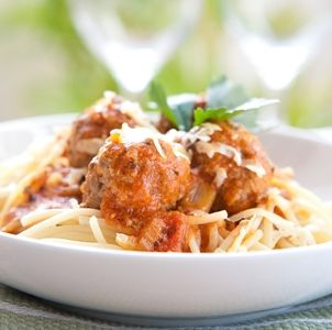 Sausage Meatballs over Spaghetti recipe