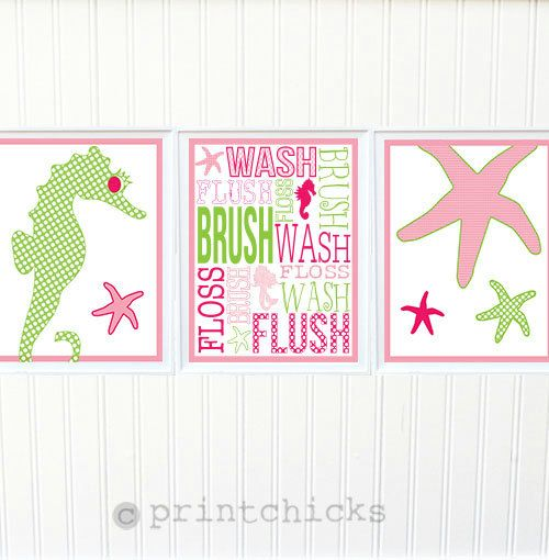 Mermaid bath prints pottery barn girl bathroom by printchicks bathroom pinterest - Mermaid decor bathroom ...